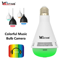 Wistino 960P WiFi Camera Bulb Wireless VR Panoramic Camera Music 1 3MP Surveillance Security Camera Surveillance