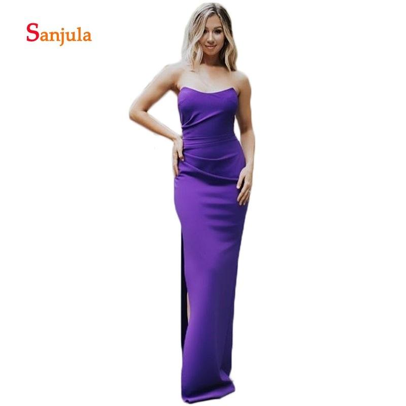 Purple Satin   Bridesmaid     Dresses   Long Strapless Simple Long Sheath Wedding Party   Dresses   Side Slit Prom Gown sukienka druhna D616