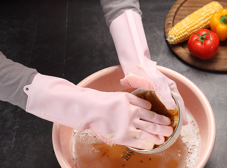 Multifunction Silicone Cleaning Gloves With Scrubber For Kitchen Household And Dish Washing 19