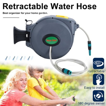 Newest Garden Watering Reel Retractable Air Hose Reel 20M Air Hose Wall Mounted Extendable Auto Hose Rewind Watering Equipment Щипцы