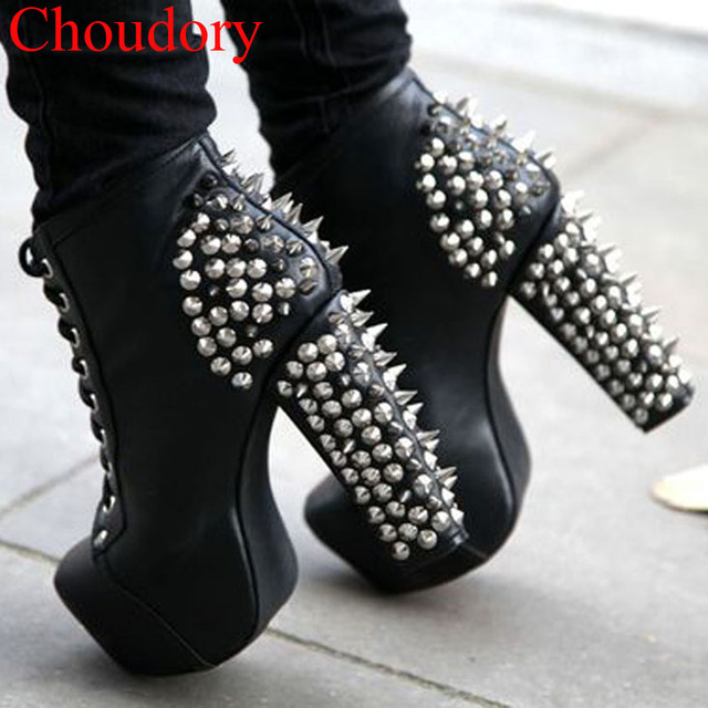 Sexy Punk Women Spiky Metal Rivets Studs Chunky High Heel Ankle Boots  Platform Ladies Stage Spikes Cover Lace up Short Bottines 4d8f50c5440c