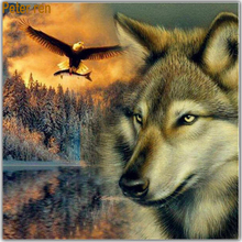 Peter ren Diamond painting cross stitch Crafts art DIY embroidery 5d Square&Round diamond mosaic Full image Wolves Eagle