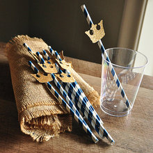 Блеск Королевская корона принца Бумага питие для вечеринки соломки для дней рождения свадьбы для новобрачных, вечеринка в честь новорождённого девичник все для бара
