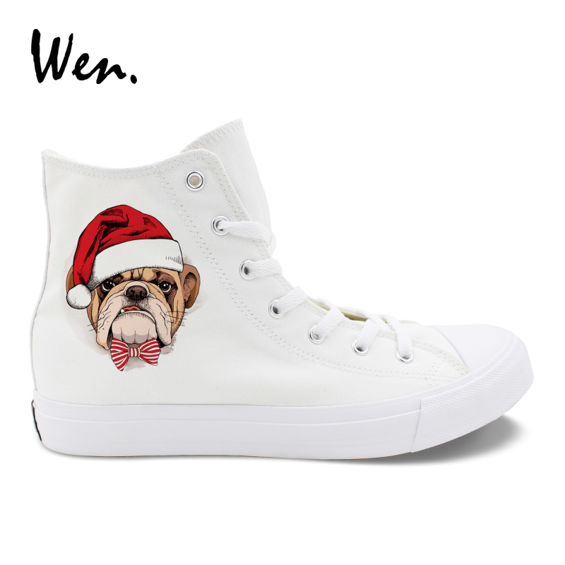 Wen Men White High Top Sneakers Christmas Hat Stripe Knot Pet Dog Pug Original Design Canvas Shoes Women Black Casual Plimsolls цена 2017