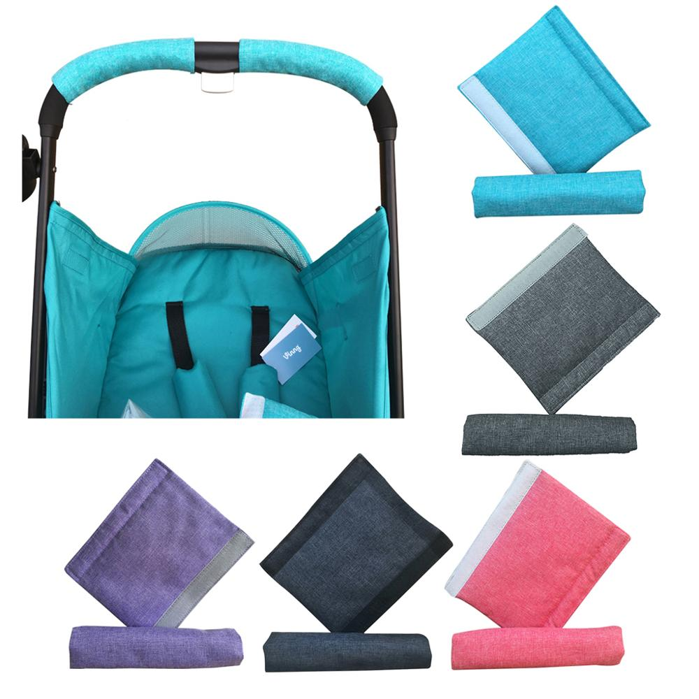 2 Pcs/set Baby Stroller Handle Cotton Linen Pushchair Armrest Case Protective Cover For Pram Stroller Accessories