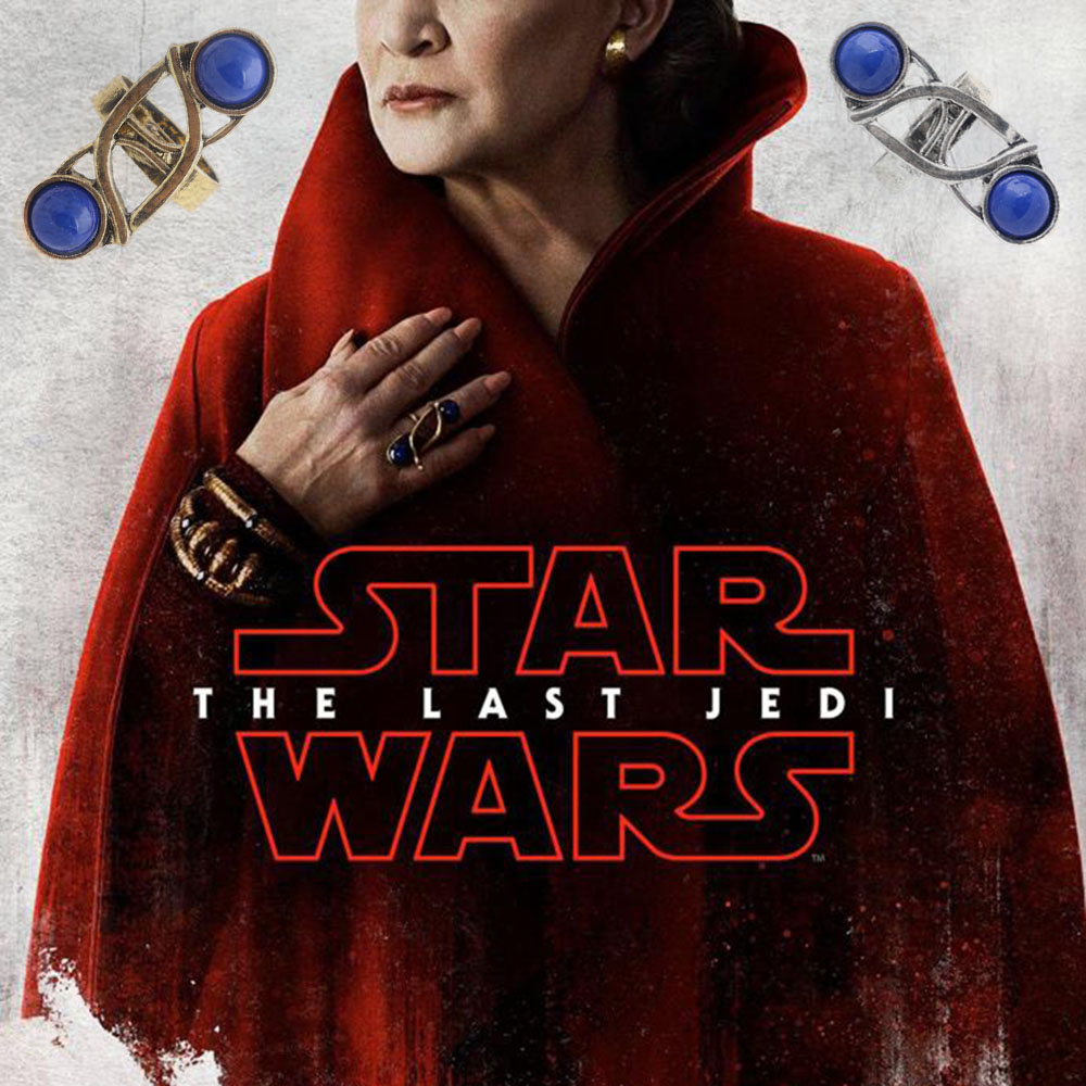 Star Wars The Last Jedi Leia Princess Ring Cosplay Blue Vintage Fast Shipping