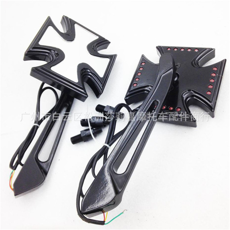 Motorcycle Rearview Mirror Scooter Side Mirror light Reflective Mirrors Refit Moto Accessories for Harley Davidson 8mm 10mm