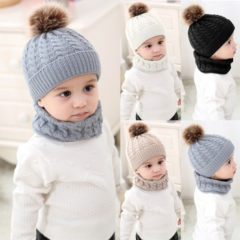 Puseky 2pcs/set Fashion Newborn Baby Hats Knitted Warm Pom Round Machine Cap Protects Ear Bonnet Baby Winter Caps + Scarf Suits