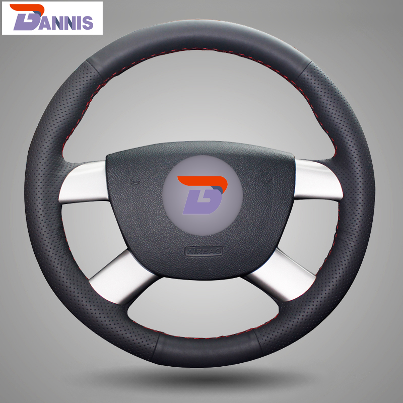 BANNIS Black Artificial Leather DIY Hand stitched Steering Wheel Cover for Ford Kuga 2008 2011 Focus