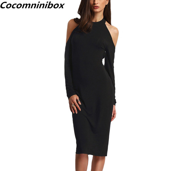 4abee87f18a421 Cocominibox Women s Sexy Backless Bodycon Pencil Dress Open Shoulder Long  Sleeve Bow Halter Party Ballgowns