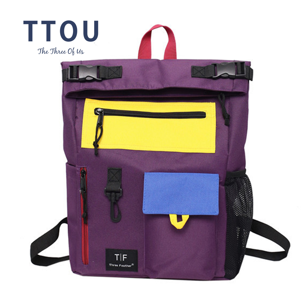 TTOU Women Casual Travel Backpack Fashion Canvas Rucksack Panelled School Bag For Teenagers Female Daypack For Laptop