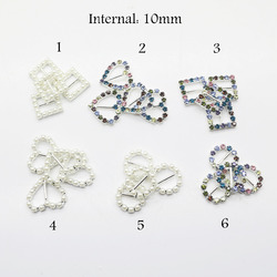 10mm Color Rhinestone buckle, Mix design order accept, Pearl buckle, 10 pcs / lot, full of crystal fit wedding ribbon and hair