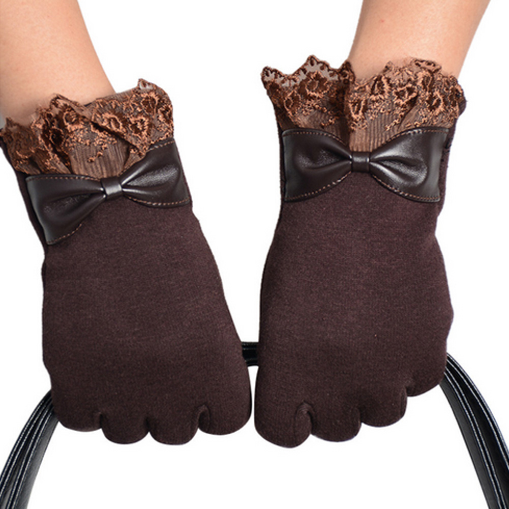 Driving gloves winter - New Fashion Women Winter Lace Bow Gloves For Phone Tablet Pad Screen Wrist Mittens Solid Color