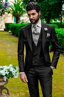 Classic Style One Button Black Groom Tuxedos Groomsmen Mens Wedding Suits Prom Bridegroom (Jacket+Pants+Vest+Tie) NO:689