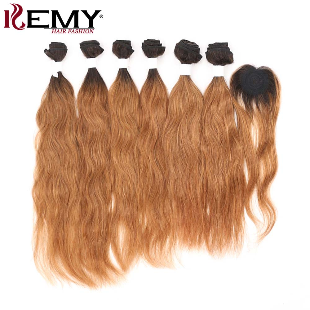 Ombre Brown Blonde Human Hair Bundles With Closure KEMY HAIR Brazilian Natural Wave Hair Extensions Non-Remy Hair Weaves 6PCS
