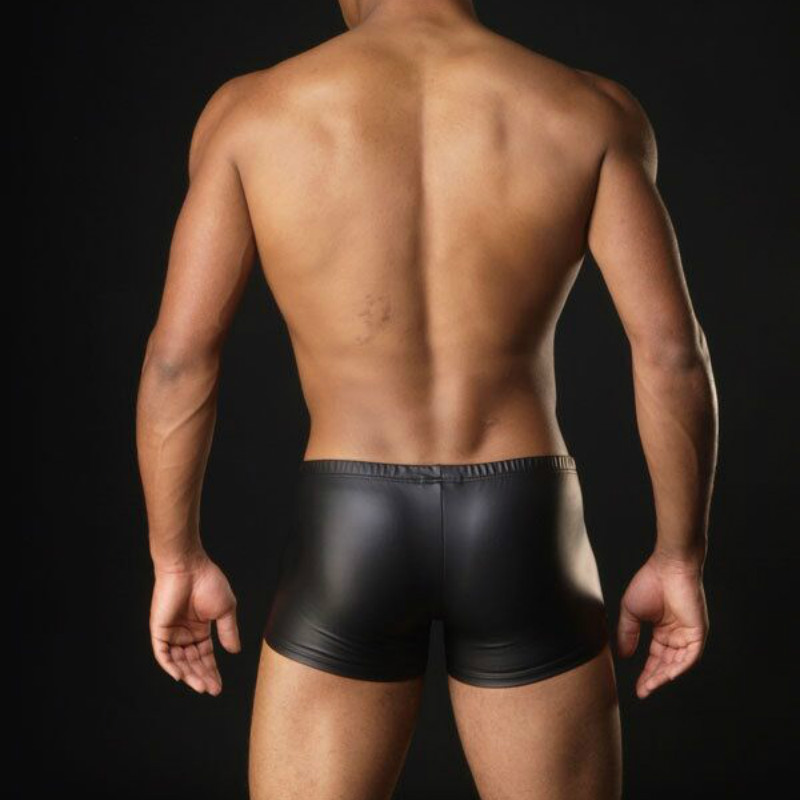 New 3 color Boxers Men Sexy Underwear Faux Leather Latex Boxer Shorts Elastic Stretchable Undershorts Erotic Panties Top Quality
