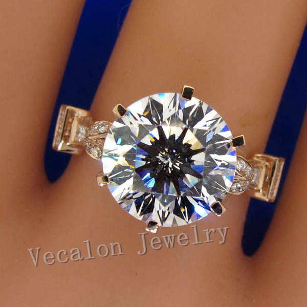 Vecalon luksusowych wzrosła złota korona wedding ring dla kobiet okrągły cut 3ct AAAAA cyrkon Cz 925 srebro kobiet zespół pierścień