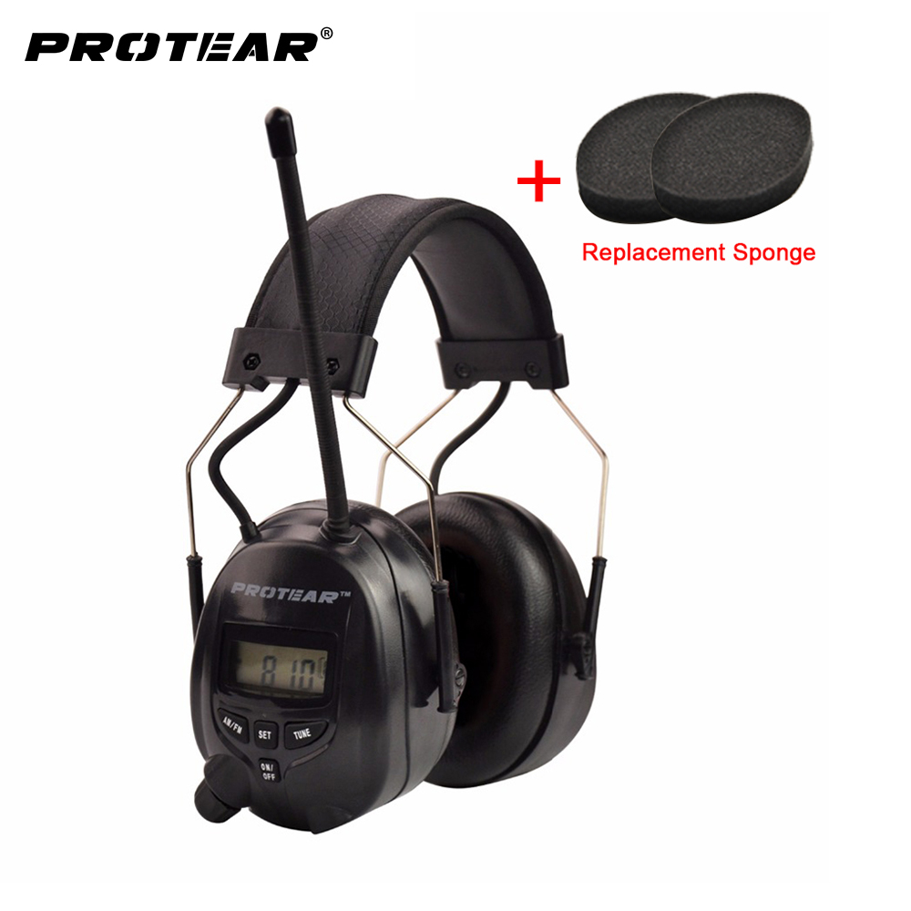 Protear NRR 25dB Protection Auditive AM FM Radio Oreilles Protection Auditive Électronique Radio Protection Auditive