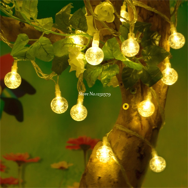 Christmas Garland String Lights : 20M 200 LED Crystal Ball String Light Globe Fairy String Garland Lights For Christmas Wedding ...