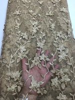Embroidered Mesh Dress Gold Maroon Lace Fabric French Lace Fabric With Stones Nigerian Lace Fabrics MM