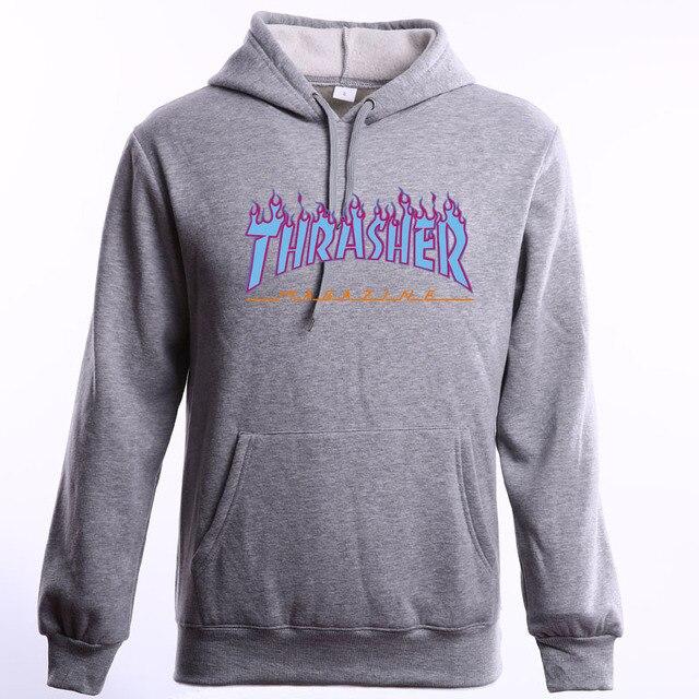 2016 New Fleece Autumn Winter sweat trasher Hoodies Men Streetwear Hip hop Hoody Thrasher Sweatshirt Men Women pull trasher