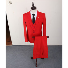 FOLOBE terno masculino 3pcs Slim Fit Red Suits Men Notch Lapel Business Wedding Groom Leisure Tuxedo Latest Coat Pants