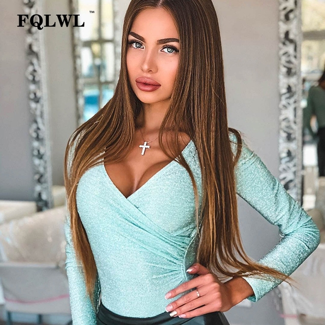 FQLWL Mint Green Pleated Bling Glitter Sexy Bodysuit Women Tops Silver Deep V Neck Long Sleeve Bodycon Ladies Bodysuit Female