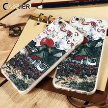 купить CASEIER Phone Case For iPhone 6 6s Plus Van Gogh's 3D Relief Painting Sunflowers Soft TPU Cover For iPhone 6 6s Cases Shell Capa дешево