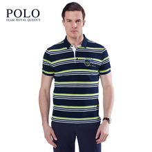 Royal Queen's Polo Team New high quality men polo fashion business shirt 2017 summer striped Men casual brand solid  shirt man t