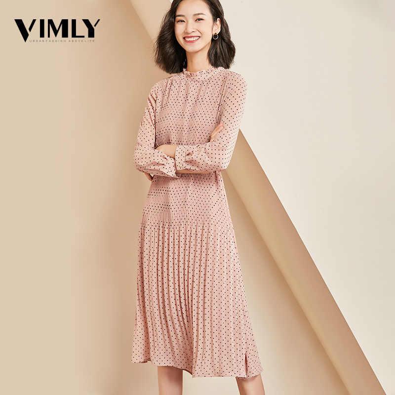 Vimly Elegante Polka Dot Frauen Kleid Volle Hülse Weibliche Büro Chiffon Dot Print Kleider A-linie Vintage Süße Kleidung vestidos