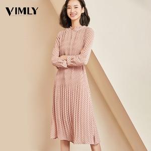 Image 1 - Vimly elegante Polka Dot vestido de mujer de manga larga chifón de oficina de mujer Dot estampado vestidos A line Vintage dulce ropa vestidos