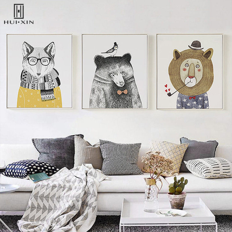 Modern Cartoon Canvas Paintings Panda Bear Lion With Hat Tie Bird Scarf Decorative Pictures For Home Restarunt Decoration