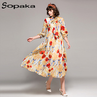 2018 Spring Bow Collar White Floral Printing Lantern Sleeve Bohemian Lady Midi Dress Runway Designer Women