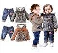 НОВЫЙ бесплатная доставка 2015 зимнее пальто + комплект одежды младенца Детей мальчики девочки теплая вниз сгущает куртка костюм комплект ребенок пальто