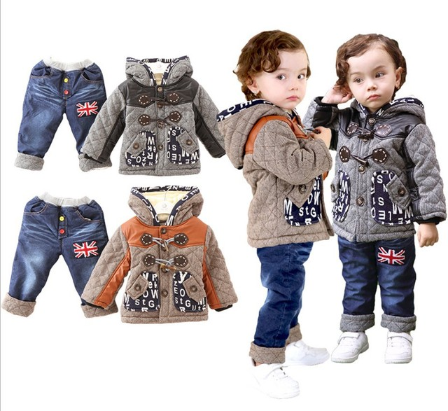 NEW free shipping 2015 winter coat+ baby clothing set Children boys girls warm down thicken jacket suit set baby coat