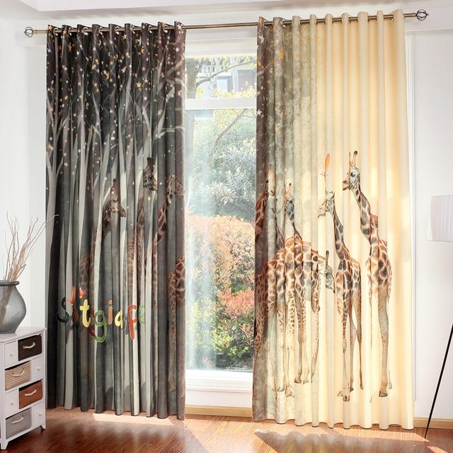 Byetee Digital Printing Luxury Kitchen Blackout Curtains Doors For Children Bedroom Living Room Window