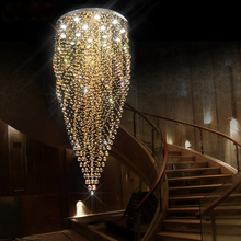 Luxury circle led crystal pendant lights big stairway foyer hotel clubs restaurant hall lobby pendant lamps crystal drop light m best price european luxury golden round crystal chandeliers light home foyer lamps hotel restaurant clubs bedroom droplights
