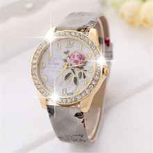 The rose series RINNADY men and women`s luxury quartz colock watch fashion leisure leather R100 wristwatches reloj mujer