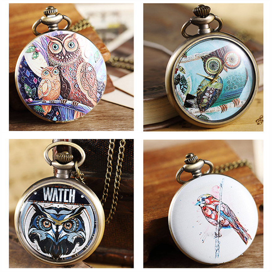 Retro Owl Pocket Watch with Chain Necklace Pendant Mens Flip Open Case Fob Watches Dresses Gifts Hour Clock for Men Women Ladies