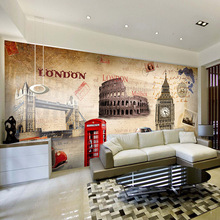 Custom 3d  European style architectural Wallpaper of Paris car clock