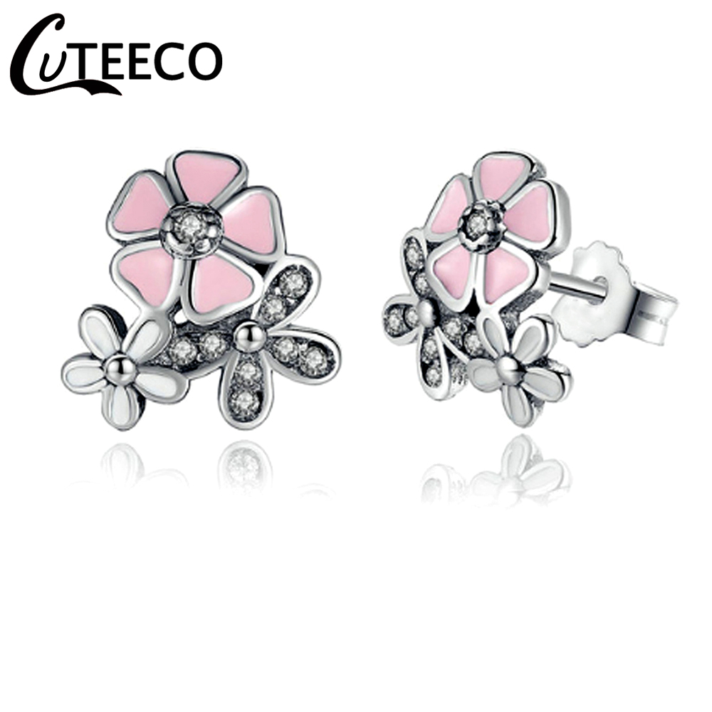 Detail Feedback Questions about CUTEECO Silver Daisy Stud Earrings Mixed &  Clear CZ Fits Original Pandora Earrings For Women Wedding Engagement  Jewelry on ...