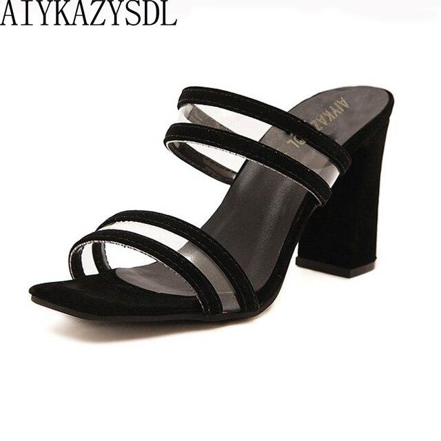 b0f68853fb675 AIYKAZYSDL Summer Concsie Sandals Women Open Toe PVC Clear Transparent High Heel  Block Heels Mules Slides Shoes Summer Woman