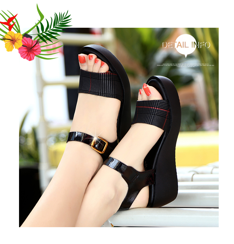 Sandals Female Summer Flat 2019 New Wild With High Heel Wedges Comfortable Non-slip Soft Bottom Pregnant Women Mother Shoes 57