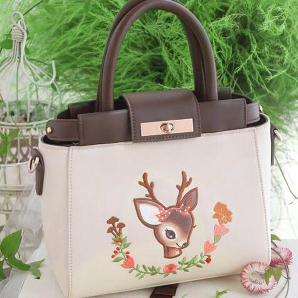 Vintage Embroidery bag New Deer Peekaboo Mori Girl Mini Leather PU Women's Handbags Messenger Crossbody Totes Bag сумка fendi peekaboo mini kelly