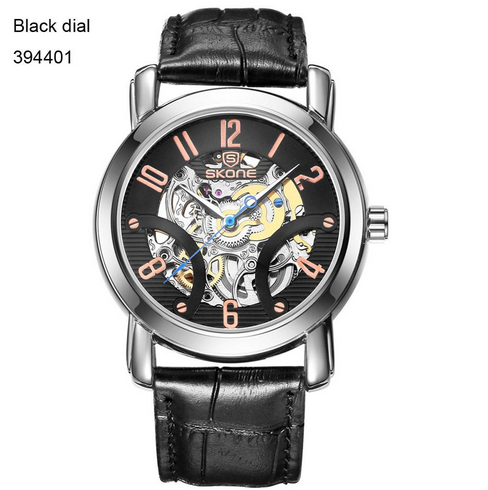 2016 SKONE new men s automatic mechanical watch casual luxury leather strap watch Men s Watches