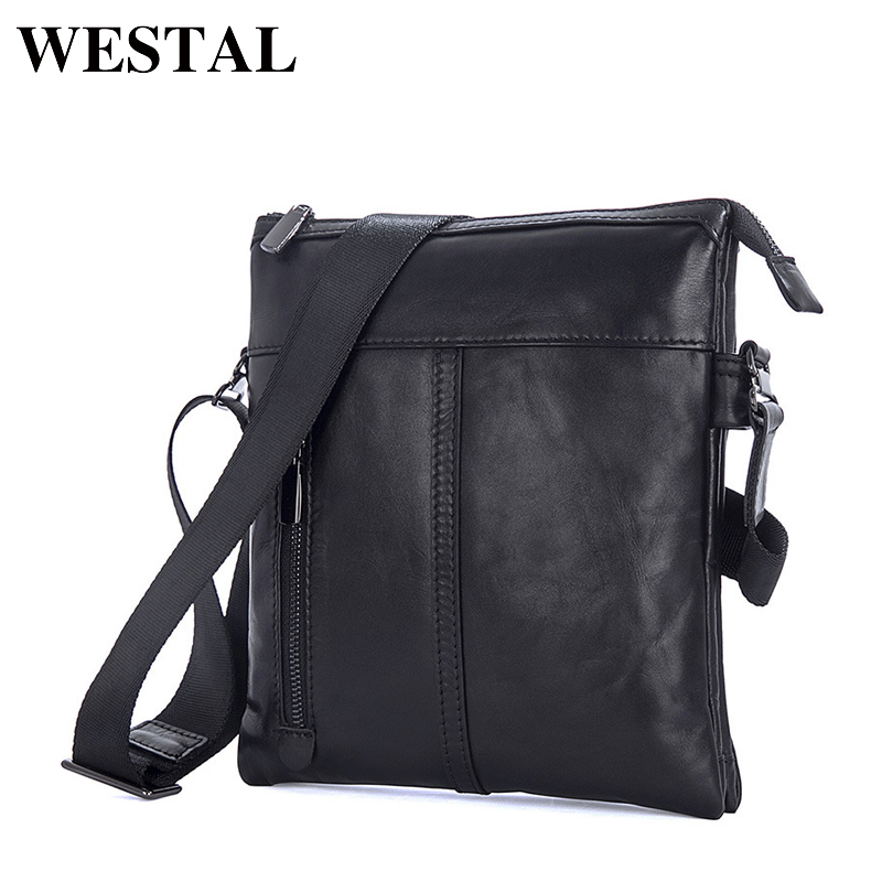 WESTAL Crossbody Bags Shoulder Bag Men Genuine Leather Messenger Bag Zipper Cell Phone Pocket Black Business Small Bags 1023 universal nylon cell phone holster blue black size l