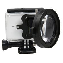 58mm Macro Close Up Da Lente Lupa de Ampliação de 16x + UV vermelho filtro para xiaomi yi 4 K 2 II Black Edition camera Acessórios