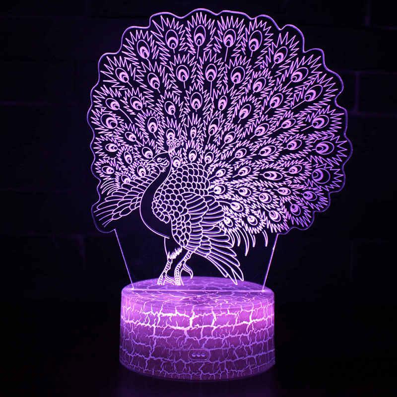 Открытый Павлин тема 3D светодиодный лампа светодиодный ночник 7 цветов изменить сенсорный Настроение лампы Рождественский подарок Dropshippping