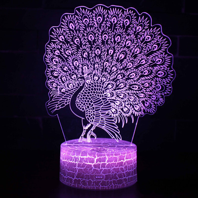 Open Peacock Theme 3D Lamp LED Night Light 7 Color Change Touch Mood Lamp Christmas Present Dropshippping