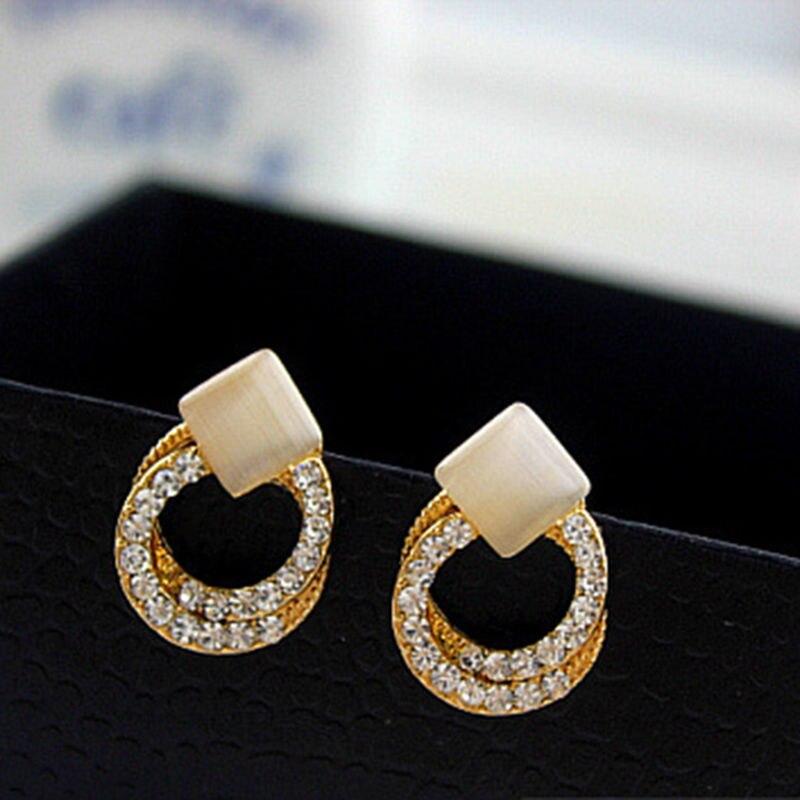 YITING Crystal Rhinestone Stud Earrings Gold Double Ring Ear Studs Geometric Women Jewelry 1 Pair Elegant Korean Style